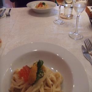 ウニとイクラのスパゲティーニ1