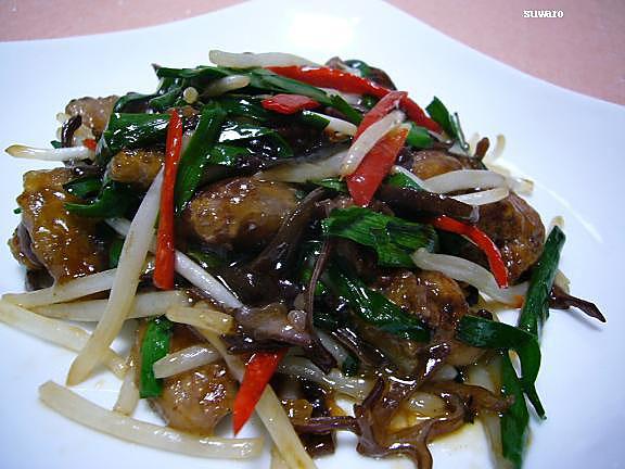 鶏レバニラ炒め→岡江さんが勧めていた心臓部分が臭みもなくとても美味しかった!