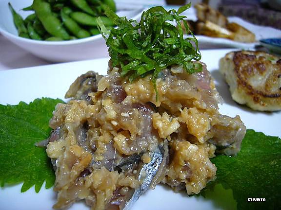 秋刀魚のぬた→エアロビ友のレシピ・・・秋刀魚は三枚に卸しさっと酢〆し好みの大きさに切る、味噌、生姜汁、葱(わけぎの方がいいかも)、みりんで和える