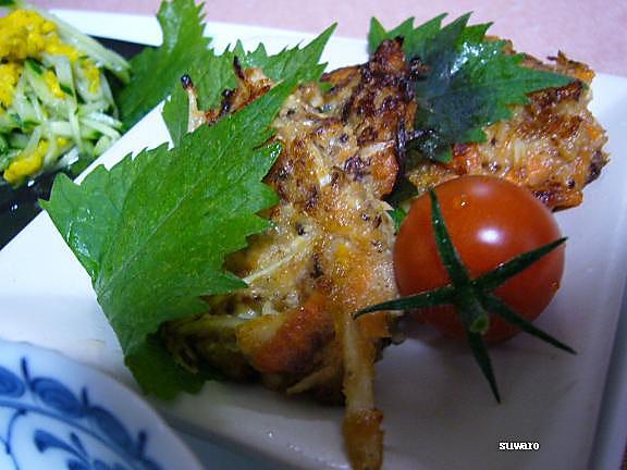 鮭と野菜の落し焼き→ミニトマトのガクを見て!・・・新鮮!