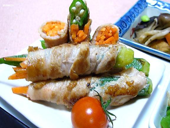 豚肉のオクラ巻き→豚肉に塗った唐辛子味噌が程よい刺激でオクラのネバネバと豚肉がとっても合う