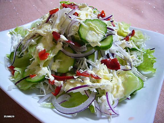 野菜サラダ→米酢+レモン汁+マヨネーズ+パルメザンチーズのドレッシング