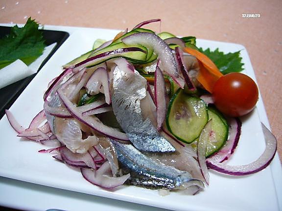 秋刀魚のマリネ→あ~、幸せ!秋刀魚は生が一番好みだわゆず果汁と一緒に!