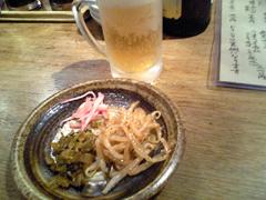 麺屋台 我馬 ビールと高菜