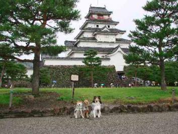 鶴カ城まえにて