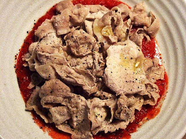 トマトソースと豚しゃぶ