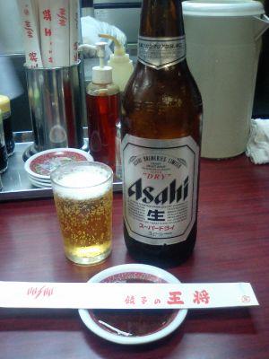 ビール、冷えたグラスがうれしい。