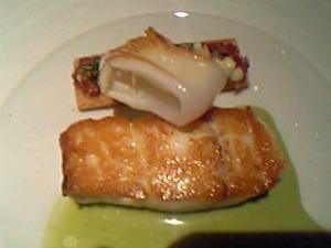 ヒラメのポワレと南仏風タルト ソース・バジリック