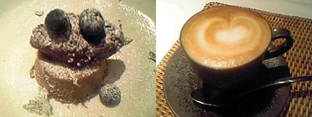 チョコレートプリン カシスのソルベ添え+ カフェ