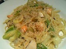 海の幸と旬の野菜のペペロンチーノ カラスミ和え