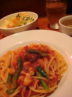 海老とインゲンのトマトソース