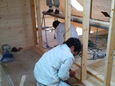 寝室の枠組壁作り