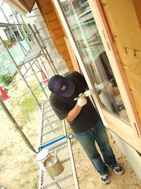 掃き出しドアの塗装