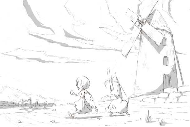 ポポスカさん@脳内サーバー「風車のある草原」