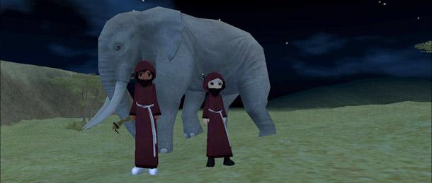 子ゾウと一緒