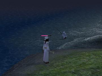 浜辺で夜釣り