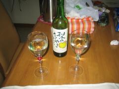 梨ワインの入れて、残りはいただきました(昼真っからです)