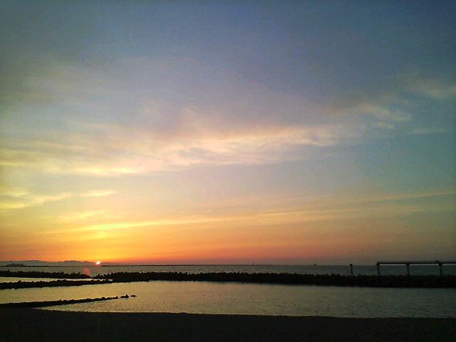 佐渡に沈む夕陽。