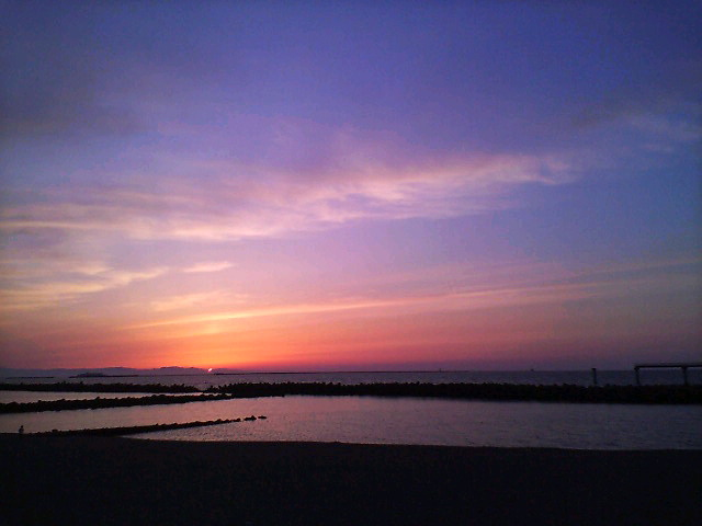 佐渡に沈む夕陽。②