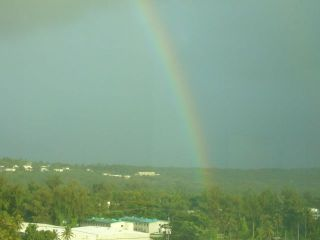 虹のふもと。