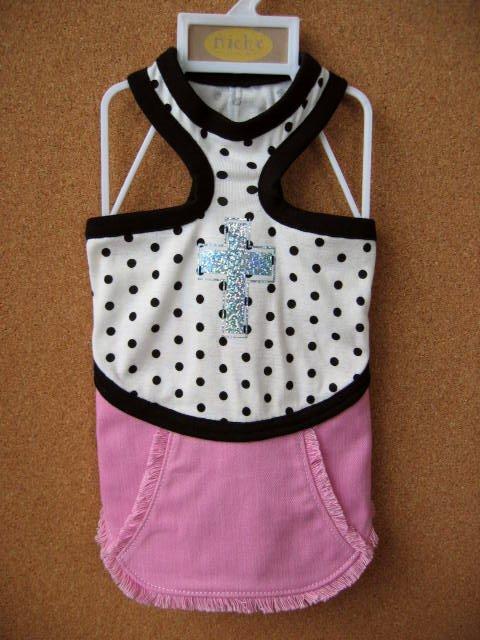 ドットキャミ×ピンクデニムスカート