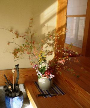 紅葉の生け花