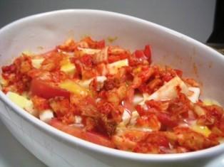 長芋トマトのキムチーズ
