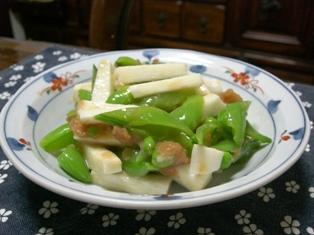 スナップエンドウと長芋の梅味噌