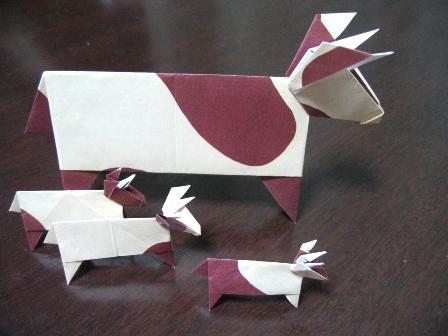 動物折り紙(ウシ)