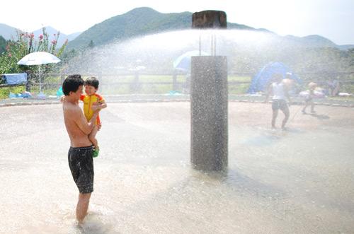 噴水シャワーに突撃1