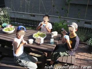 庭でカキ氷の子供達