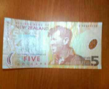 ニュージーランド紙幣の5ドル札