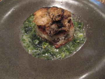 ゴボウの焼きリゾット 岩牡蠣をのせて 青海苔と木の芽のスープ仕立て