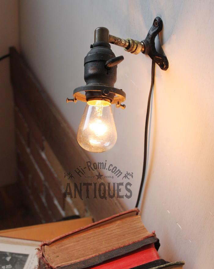 アンティーク角度調整ギャラリー付真鍮ソケット工業系壁掛ライト