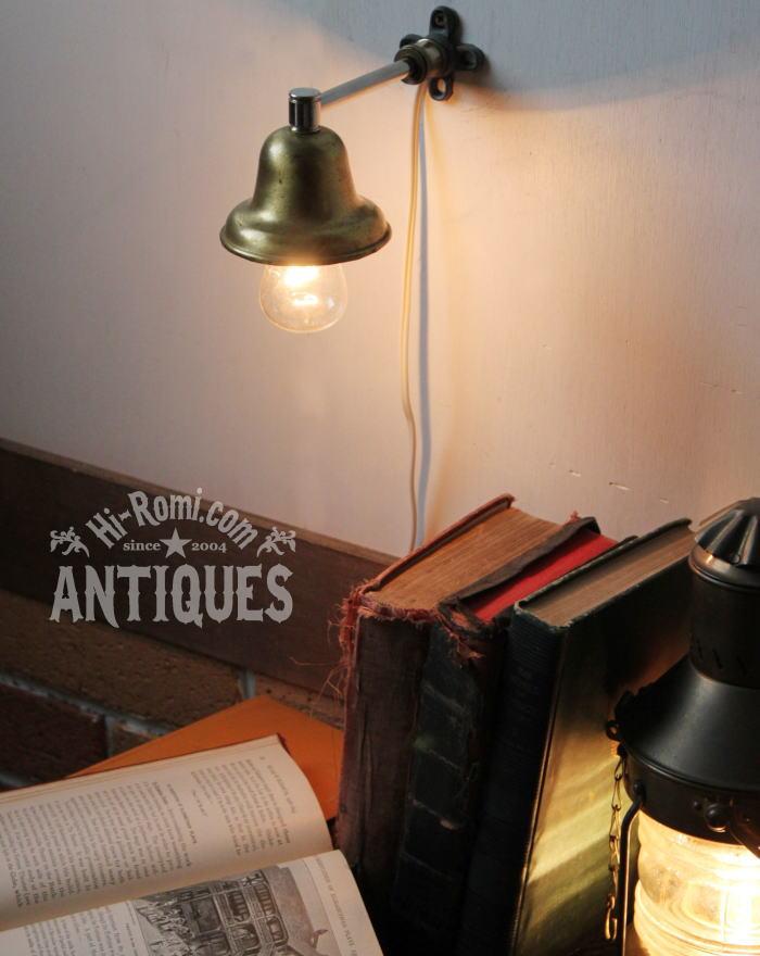 USAベル型真鍮シェード工業系壁掛ライト/アンティーク照明ランプ