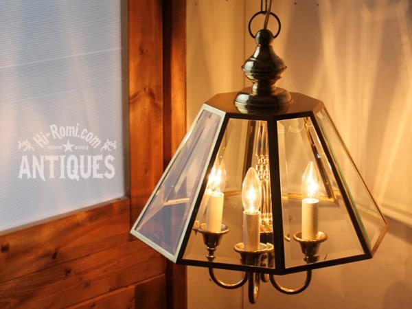 真鍮8面ガラス4灯シャンデリアペンダントランプ/アンティーク