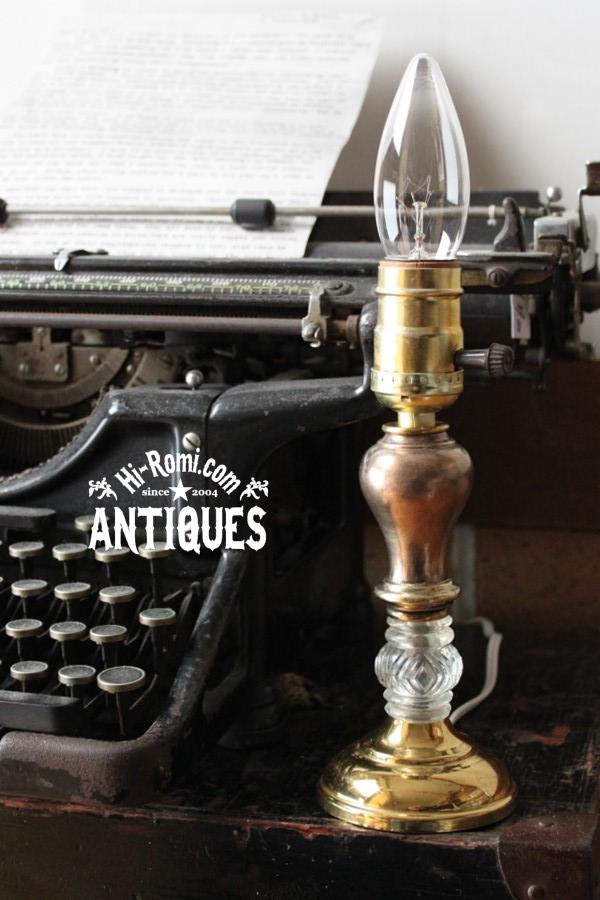 真鍮ガラス飾り玉1灯テーブルランプ/アンティーク卓上照明ライト