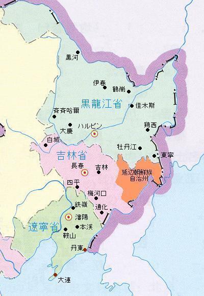 中国東北部の地図