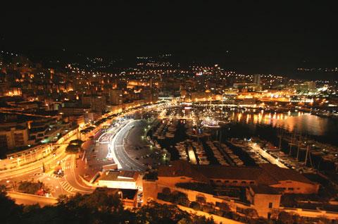 大公宮殿付近から見た夜景(モナコ)