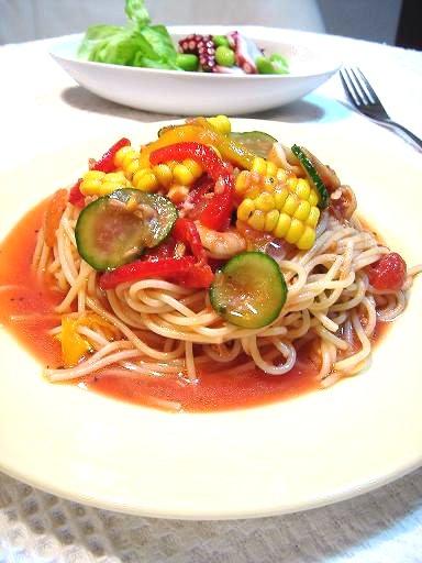 夏野菜のマリネパスタ