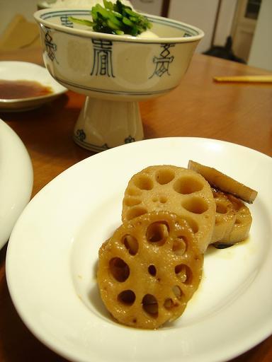 蓮根甘辛と豆腐