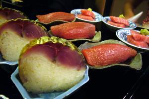 鯖棒寿司、漬けまぐろ握り、トロ