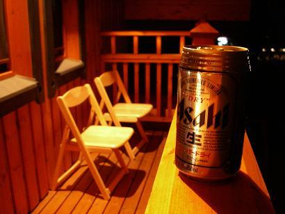 バルコニーでビール♪.