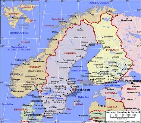 スウェーデン地図