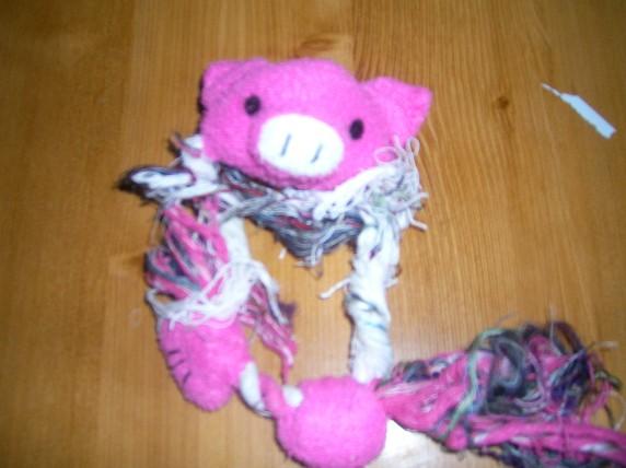 ブタさんの おもちゃ、 破壊される、、、恐ろしい、、、