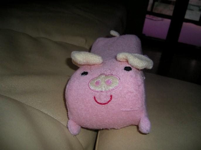 LOVEの新しい おもちゃだね、ブタさん顎のせ枕だね。