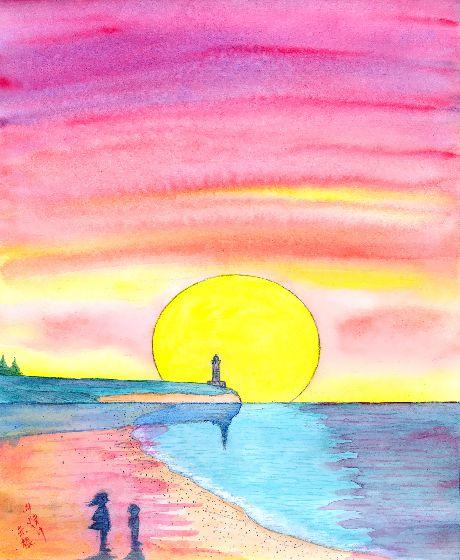 童画作家・秋野赤根のセンチメンタル・ロマン 「遠い日の情景」 夕焼け