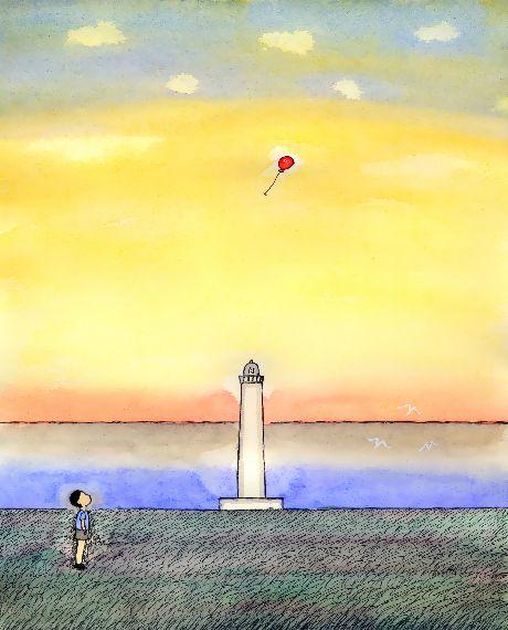 童画作家・秋野赤根のセンチメンタル・ロマン 「遠い日の情景」 灯台と赤い風船