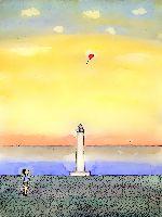 灯台と赤い風船