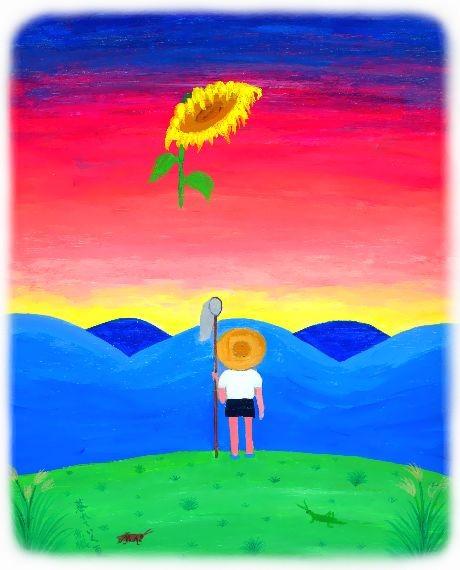 童画作家・秋野赤根のノスタルジック童画館 「暮れていく夏」
